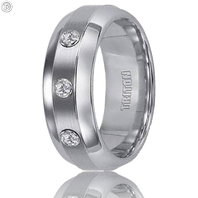 Triton 21-2217C 8mm Tungsten Carbide Step Edge Comfort Fit Diamond Wedding Band with a Brushed Center Finish (.15 ct)
