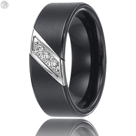 Triton 22-2949C 8mm Triton Black Tungsten Diamond Wedding Band (.10 ct)