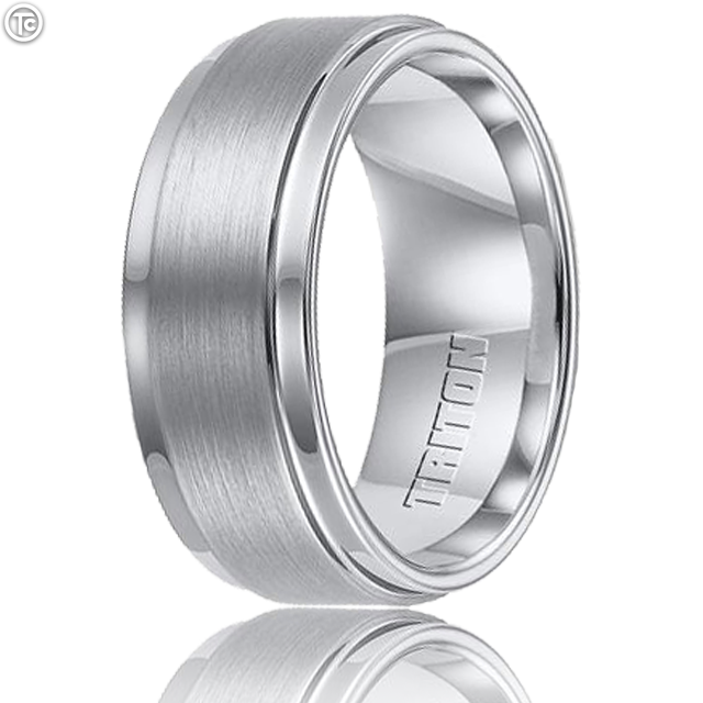 Triton Ring Cobalt Step Edge Brush Finish Diamond Band