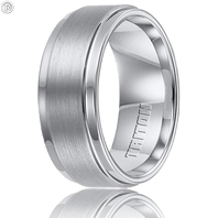 Triton 11-2096C 9mm Step-Down Edge White Tungsten Wedding Band
