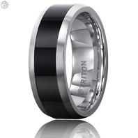 Triton 11-2232CE 8mm Tungsten Carbide & Black Ceramic Comfort Fit Wedding Band