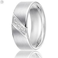 Triton 22-2953C 8mm Tungsten Diagonal Diamond Wedding Band (.10 ct)
