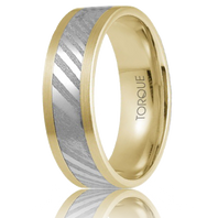 TORQUE by CrownRing 14kt Gold with Damascus Steel Inlay 7mm Flat Comfort fit Wedding Ring - DM-001WYM7