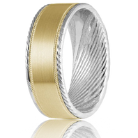 TORQUE by CrownRing Damascus Steel with 14kt Gold Inlay 8mm Comfort fit Wedding Ring - DM-003YWM8