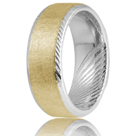 TORQUE by CrownRing Damascus Steel with 14kt Gold Inlay 8mm Comfort fit Wedding Ring - DM-004YWM8