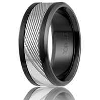 TORQUE by CrownRing Black Cobalt with Damascus Steel Inlay 9mm Comfort fit Wedding Ring - DM-006WB9