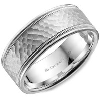 LB-2038 Light Weight 8mm Hammered 14kt White Gold Comfort Fit Ring