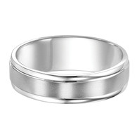 F. Goldman 11-6910W 6mm 14kt White Gold with Satin Center Finish