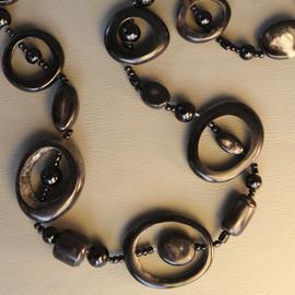 The Alexandra Hoop & Bead Necklace - Dark