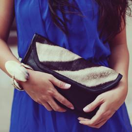 DIRA Zebra Skin Handbag - Clutch