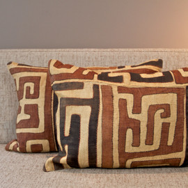 Raffia Kuba Cloth Pillow - Lumbar