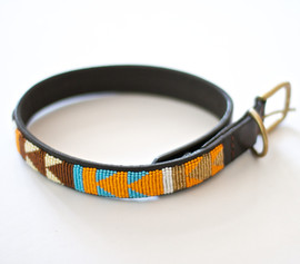 Maasai Beaded Dog Collar - Multi Earth Tones