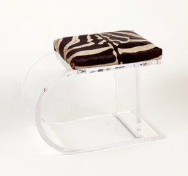 Zebra Hide on Acrylic Bench