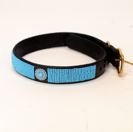 Maasai Beaded Dog Collar - Blue