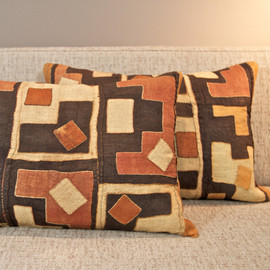 Raffia Kuba Cloth Pillow - medium square