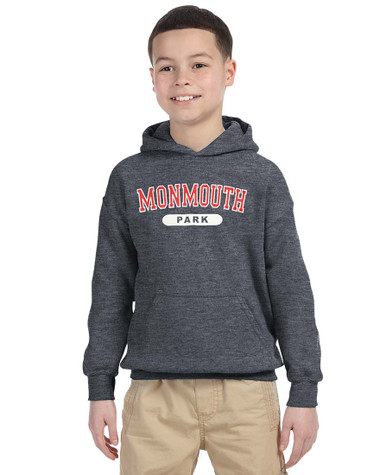 Dark Heather Youth Hoodie with Monmouth Park Varsity Logo