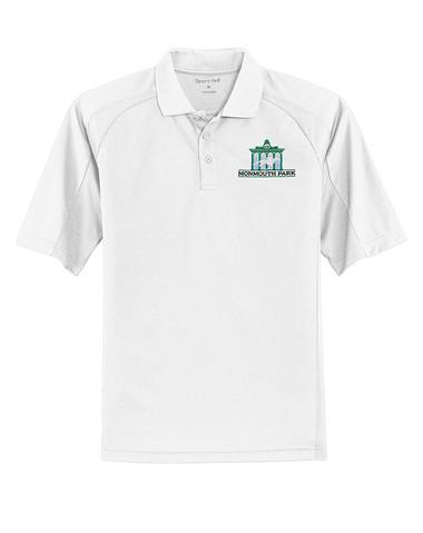 Dri Mesh Polo w-Monmouth Park Logo- White