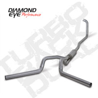 "Diamond Eye 4"" Turbo Back Aluminized Dual Exhaust 03-07 6.0"