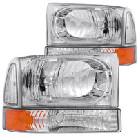 Anzo 2 PC Crystal Chrome w/ Corner Lights Headlight Ford 1999-2004