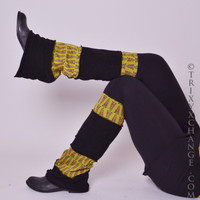 Brown & Black Floral Patchwork Leg Warmers
