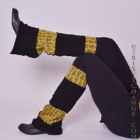 Brown & Black Floral Patchwork Leg Warmers