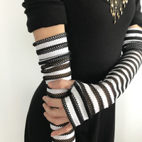 Long Black & White Striped Fishnet Gloves