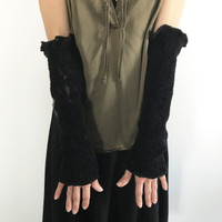 Recycled Black Sweater Knit Arm Warmers