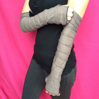 Long Gray Ruffle Arm Covers