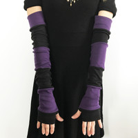 Black & Purple Patchwork Cotton Arm Warmers