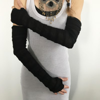 Black Ruffle Arm Sleeves