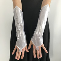 Silver Metallic Gloves with Finger Loops
