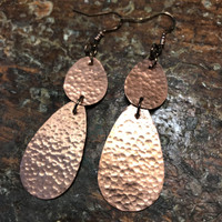 Handmade Copper Hammered Teardrop Earrings