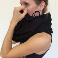 Black Cotton Blend Infinity Scarf