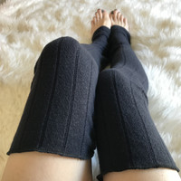 Recycled Navy Blue Sweater Knit Legwarmers