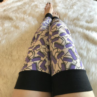 Purple Geometric Thigh High Leg Warmers