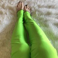 Green Shiny Spandex Leg Warmers