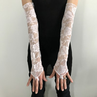 White Lace Long Gloves with Finger Loops