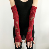 Red Ripped Zombie Costume Gloves