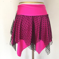 Pink & Black Glitter Fishnet Festival Skirt