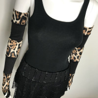 Black & Brown Cheetah Print Patchwork Arm Warmers