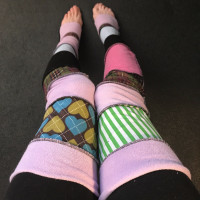 Purple Patchwork Thigh High Leg Warmers