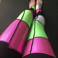 Pink & Green Spandex Patchwork Leg Warmers