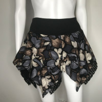 Blue Floral & Black Fishnet Skater Skirt - Medium