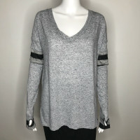 Gothic Gray Patchwork Oversized Long Sleeve Shirt - Size XS
