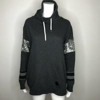 Zombie Apocalypse Black Glitter Patchwork Sweatshirt - Size Large