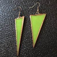 Recycled Stained Glass Neon Green Triangle Earrings
