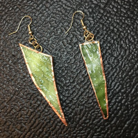 Recycled Stained Glass Emerald Green Saber Tooth Earrings