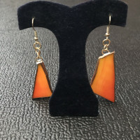 Recycled Stained Glass Rustic Orange Earrings