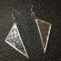 Recycled Stained Glass Triangle Earrings