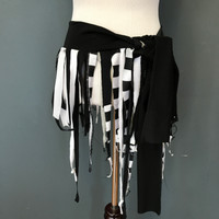 Black Striped Fringe Pirate Wrap Skirt - One Size